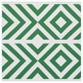 Geometric Green and White Chevrons and Diamonds Fabric