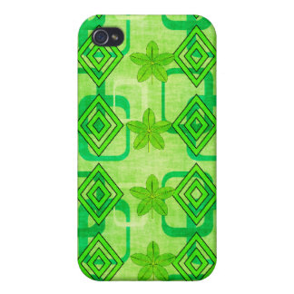 Geometric Green Leaves Covers For iPhone 4
