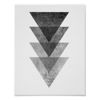Geometric Grey Triangles Poster