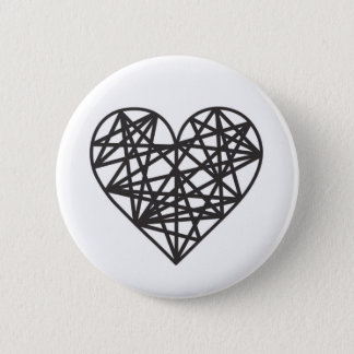 Geometric heart 6 cm round badge