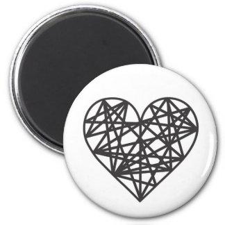 Geometric heart 6 cm round magnet