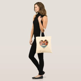 Geometric Heart canvas bag, Heart Tote, Love bag