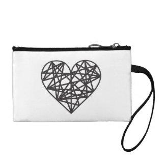 Geometric heart coin purse