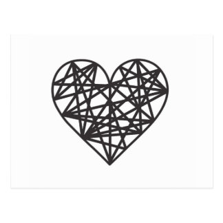Geometric heart postcard