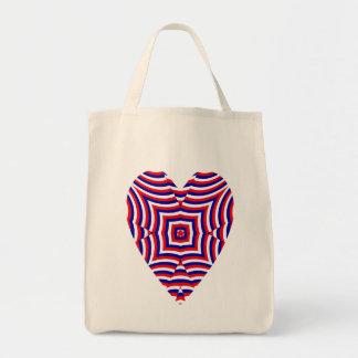 Geometric heart red white blue Independence Day Grocery Tote Bag
