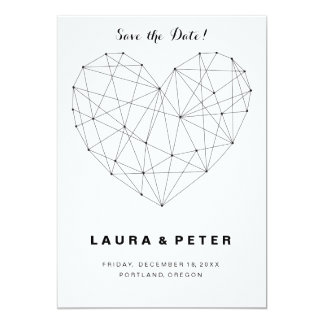 Geometric heart Save the date card template