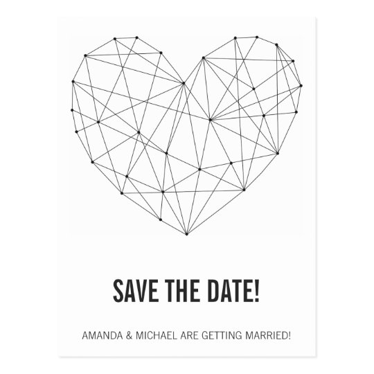 Geometric heart save the date postcard template