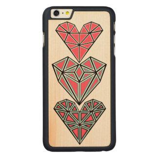 Geometric Hearts Wooden Phone Case