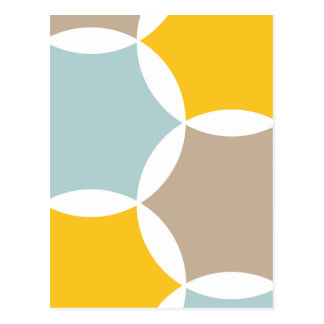 Geometric Hexagon Circle Yellow Blue Pattern Postcard
