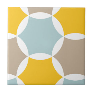 Geometric Hexagon Circle Yellow Blue Pattern Small Square Tile