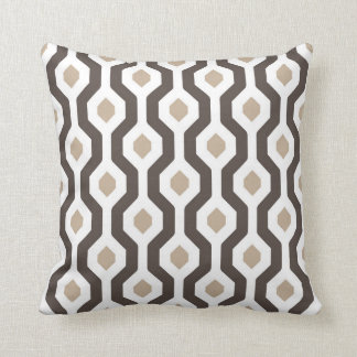 Geometric Hexagon Link Pattern Brown Cushion