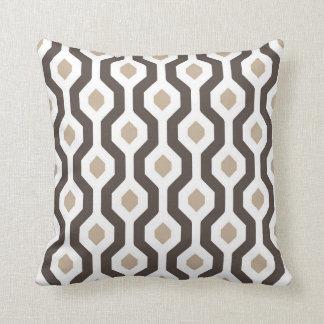 Geometric Hexagon Link Pattern Brown Throw Pillow