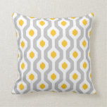 Geometric Hexagon Link Pattern Grey Yellow Cushion