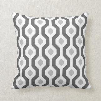 Geometric Hexagon Link Pattern Greys Throw Pillow