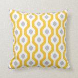 Geometric Hexagon Link Pattern Yellow Grey Cushion
