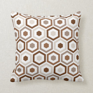 Geometric Hexagon Pattern Pillow | Beige Brown