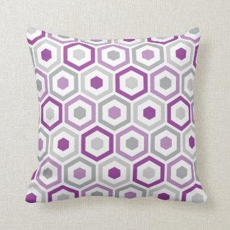Geometric Hexagon Pattern Pillow   Purple Grey