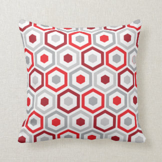 Geometric Hexagon Pattern Pillow | Red Grey