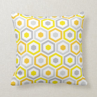Geometric Hexagon Pattern Pillow | Yellow Grey