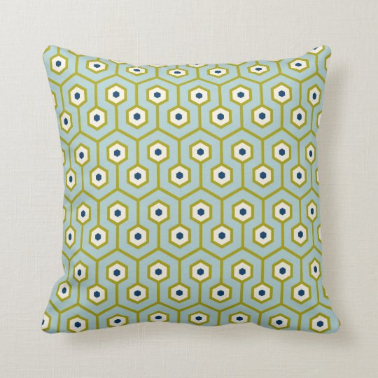 Geometric Hexagons Pattern Blue Green Navy Cushion