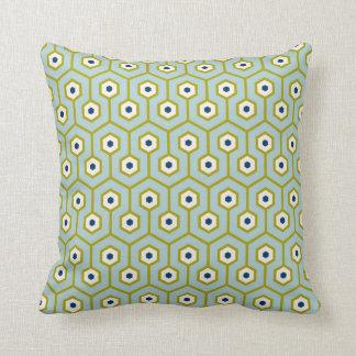 Geometric Hexagons Pattern Blue Green Navy Throw Pillow