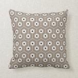 Geometric Hexagons Pattern Taupe Grey Black Cream Cushion