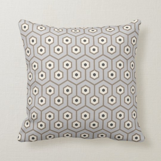 Geometric Hexagons Pattern Taupe Grey Cream Cushion