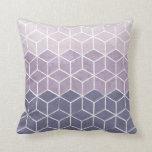 Geometric Hexagons Purple and White Cushion