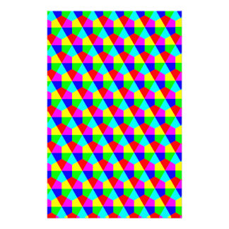 Geometric hexagons red yellow green blue pink 14 cm x 21.5 cm flyer