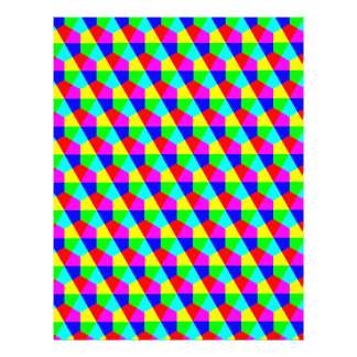 Geometric hexagons red yellow green blue pink 21.5 cm x 28 cm flyer