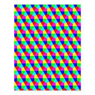 "Geometric hexagons red yellow green blue pink 8.5"" x 11"" flyer"
