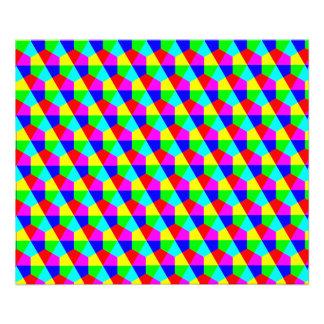 Geometric hexagons red yellow green blue pink photo