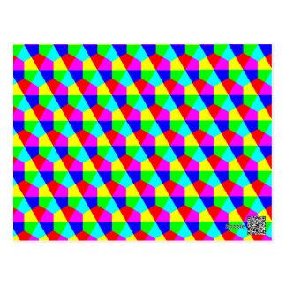 Geometric hexagons red yellow green blue pink postcard