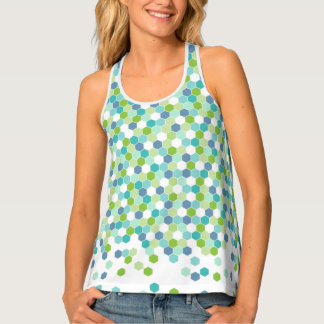 Geometric Honeycomb Blue Green Beach Colors Tank Top