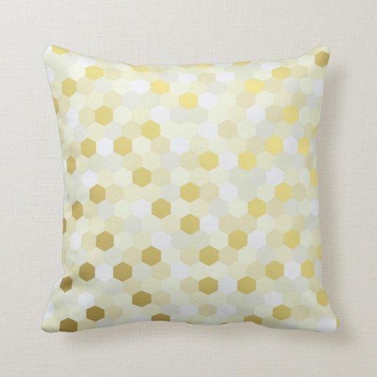Geometric Honeycomb Mustard Gray White Ivory Gold Cushion