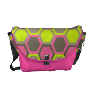 Geometric Honeycomb Pink Green Brown Pattern Courier Bag