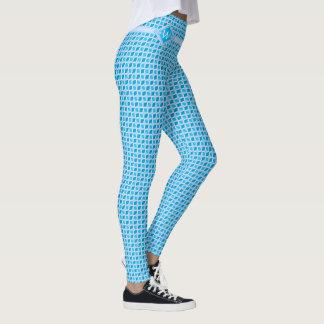 Geometric Icy Aqua Diamond Pattern Custom Monogram Leggings