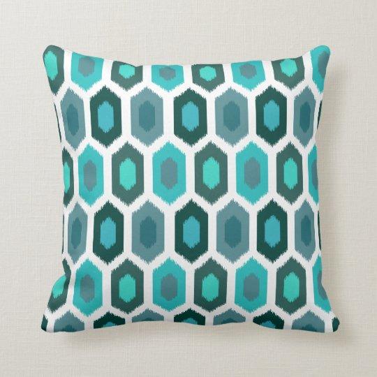 Geometric Ikat Ocean Beach Blue Throw Pillow