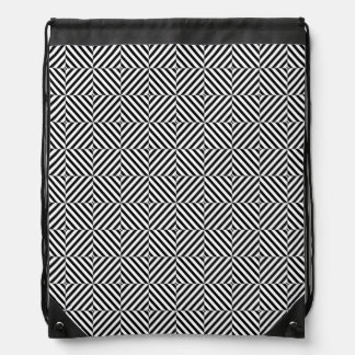 Geometric Illusion Stripes Drawstring Bag