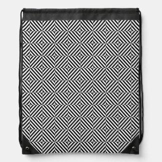 Geometric Illusion Stripes Drawstring Backpacks