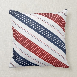 Geometric Independence Day Diagonal Stripes Throw Cushions