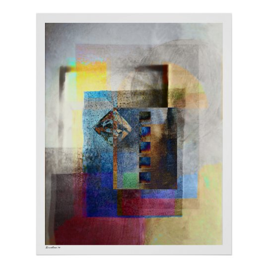 Geometric Industrial Grunge Art 4 Poster