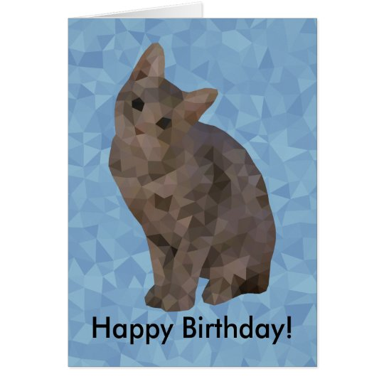Geometric Kitten Happy Birthday Card