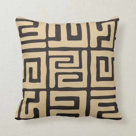 Geometric Kuba Cloth Inspired Earth Tone Cushion