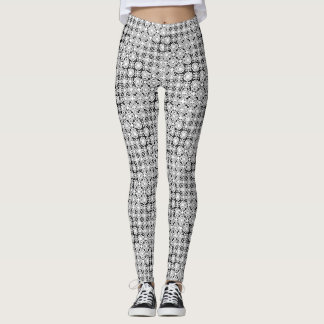 Geometric Lace Pattern Leggings in Black and White