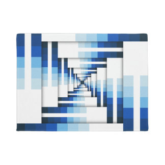 Geometric Layers of Blue Doormat