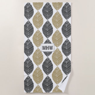 Geometric Leaf Pattern custom monogram beach towel