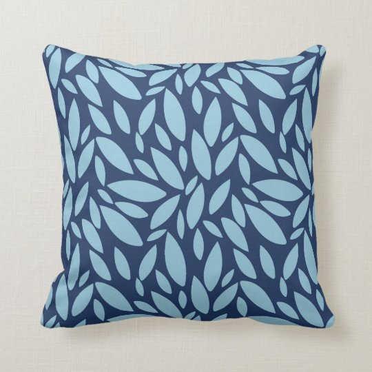 Geometric leaf shapes two tone blue cushion