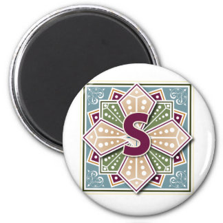 Geometric Letter S 6 Cm Round Magnet
