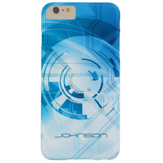 Geometric Light Blue Abstract Pattern Monogram Barely There iPhone 6 Plus Case